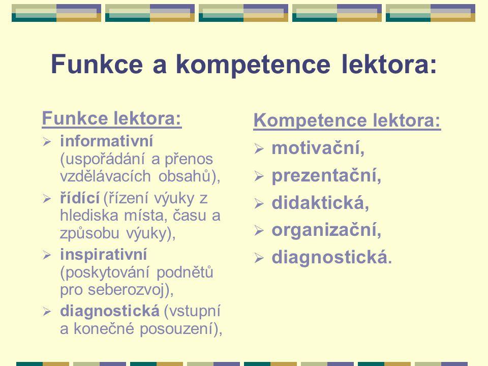 Funkce a kompetence lektora: Funkce lektora:  informativní (uspořádání a přenos vzdělávacích obsahů),  řídící (řízení výuky z hlediska místa, času a