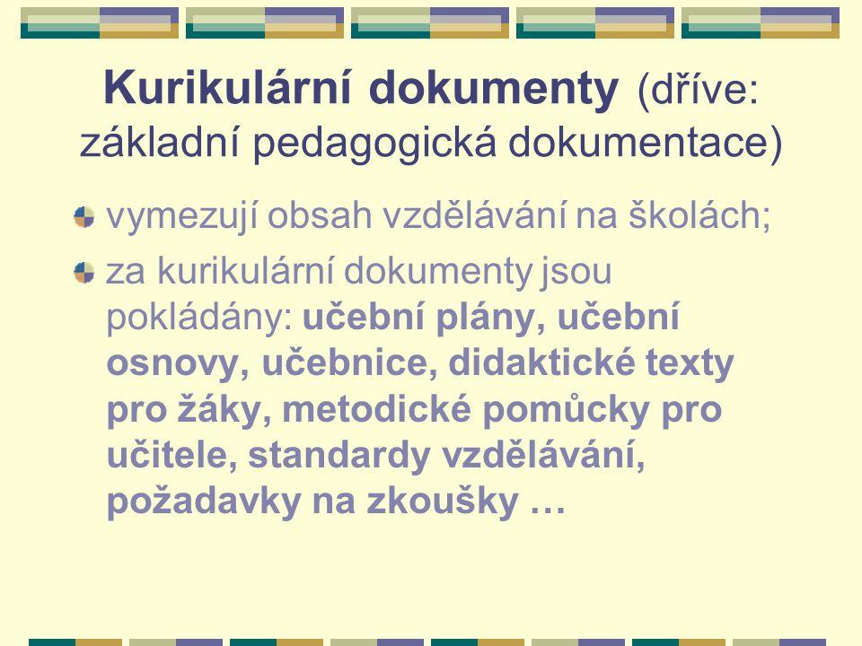 Kurikulární dokumenty (dříve: základní pedagogická dokumentace) vymezují obsah vzdělávání na školách; za kurikulární dokumenty jsou pokládány: učební