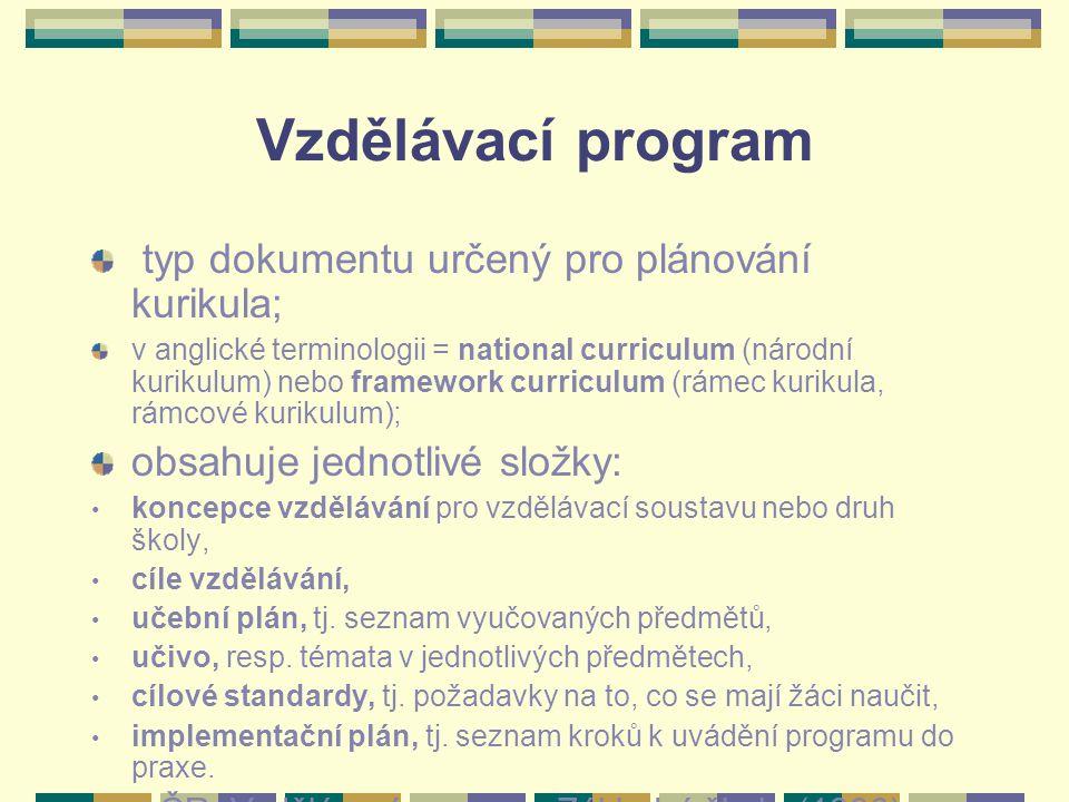 Vzdělávací program typ dokumentu určený pro plánování kurikula; v anglické terminologii = national curriculum (národní kurikulum) nebo framework curri