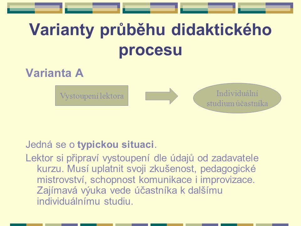Varianty průběhu didaktického procesu Varianta A Jedná se o typickou situaci. Lektor si připraví vystoupení dle údajů od zadavatele kurzu. Musí uplatn