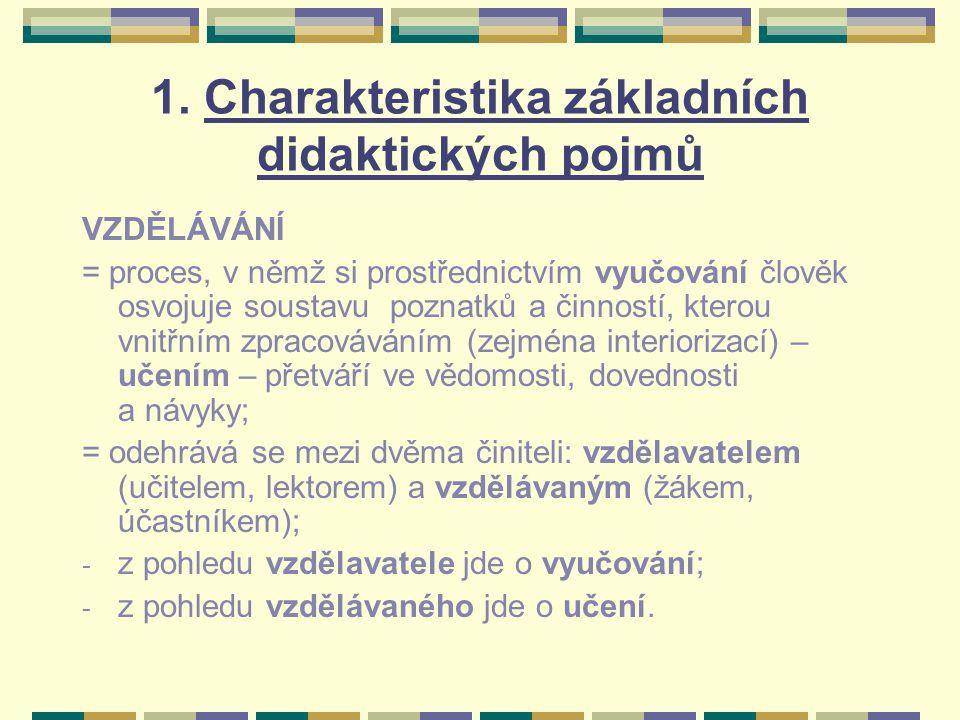1. Charakteristika základních didaktických pojmů VZDĚLÁVÁNÍ = proces, v němž si prostřednictvím vyučování člověk osvojuje soustavu poznatků a činností