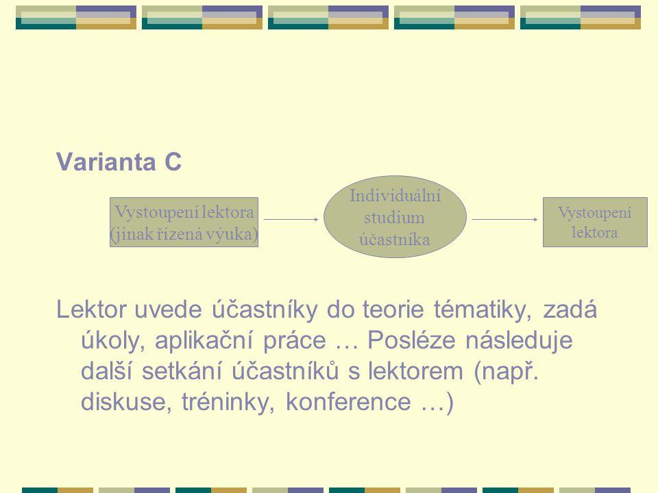 Varianta C Lektor uvede účastníky do teorie tématiky, zadá úkoly, aplikační práce … Posléze následuje další setkání účastníků s lektorem (např. diskus