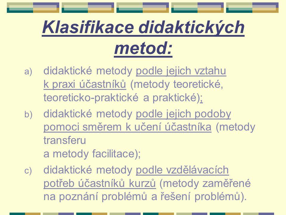 Klasifikace didaktických metod: a) didaktické metody podle jejich vztahu k praxi účastníků (metody teoretické, teoreticko-praktické a praktické); b) d