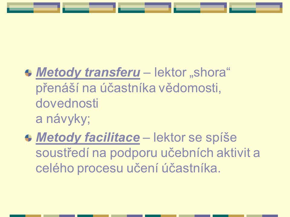 """Metody transferu – lektor """"shora"""" přenáší na účastníka vědomosti, dovednosti a návyky; Metody facilitace – lektor se spíše soustředí na podporu učební"""