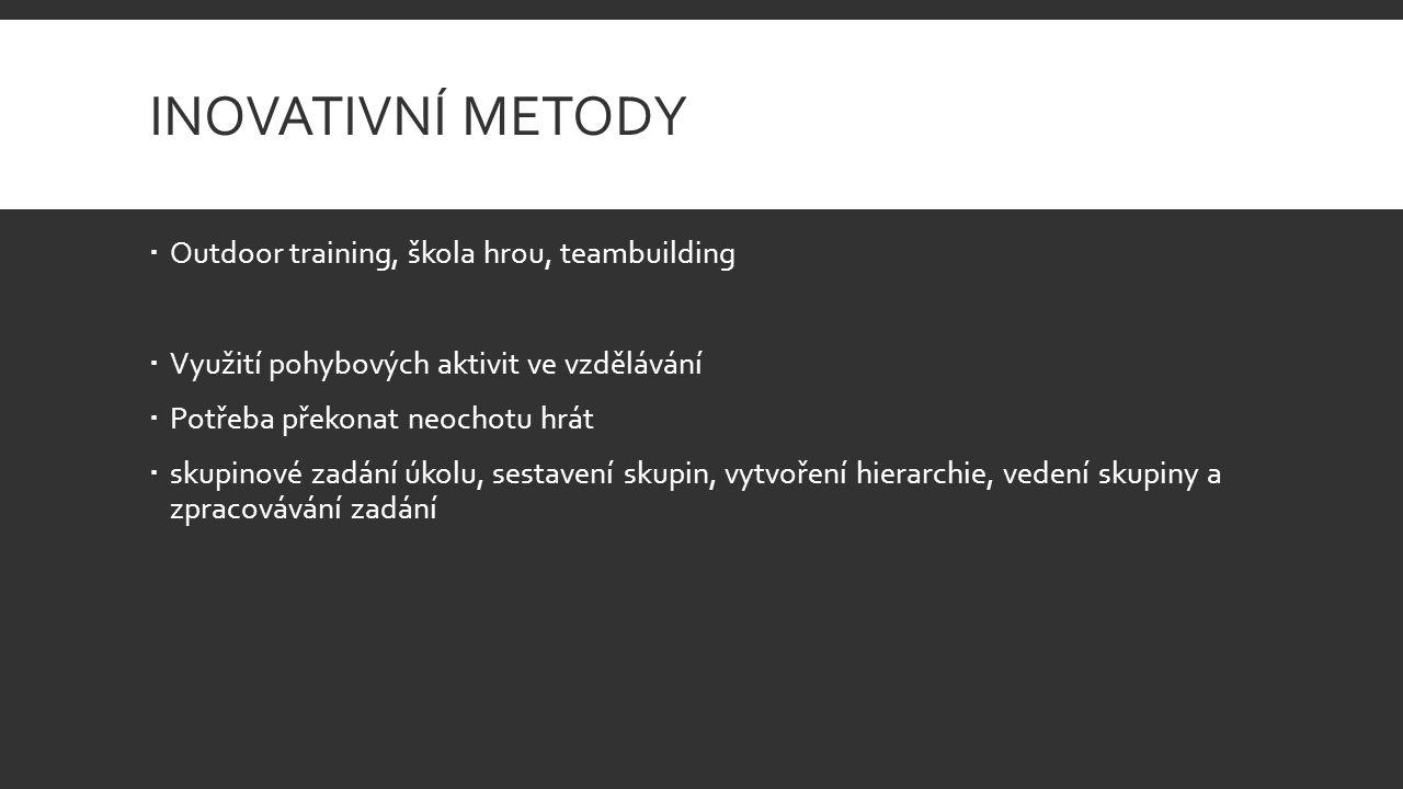 INOVATIVNÍ METODY  Outdoor training, škola hrou, teambuilding  Využití pohybových aktivit ve vzdělávání  Potřeba překonat neochotu hrát  skupinové