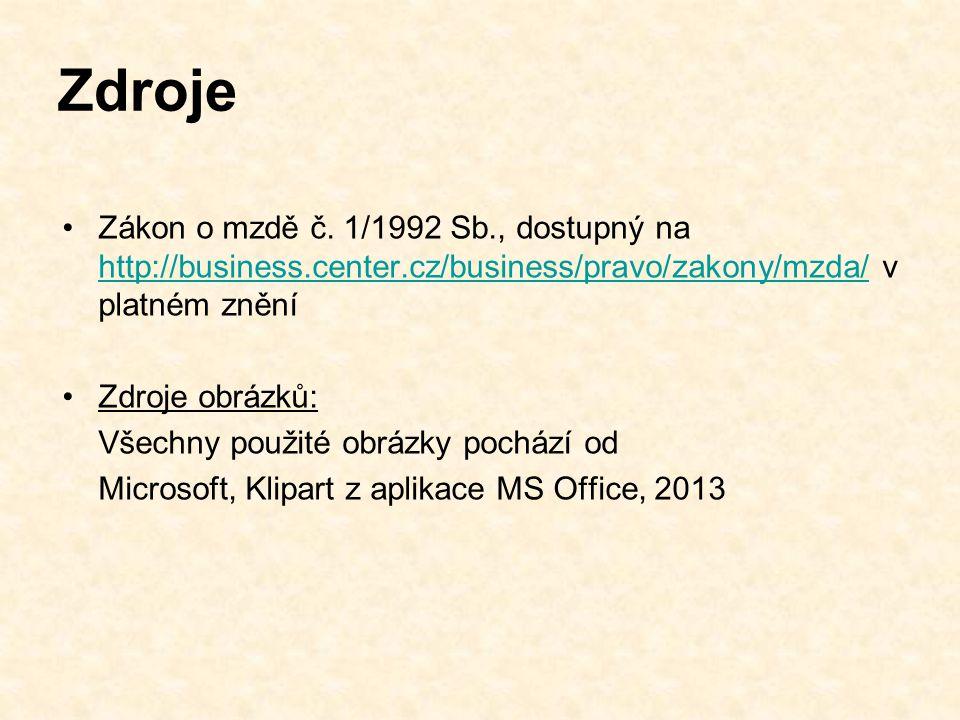 Zdroje Zákon o mzdě č.