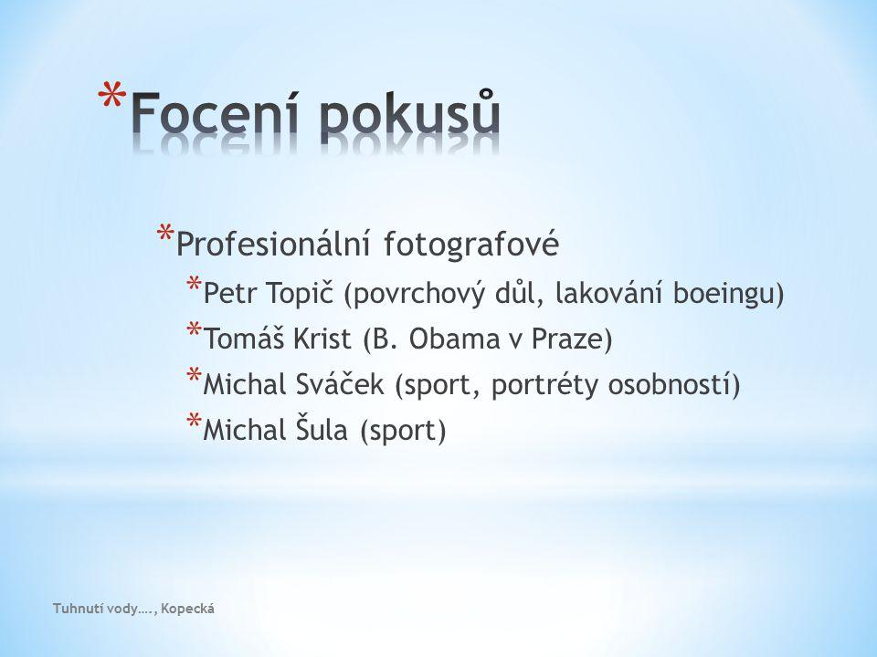 * Profesionální fotografové * Petr Topič (povrchový důl, lakování boeingu) * Tomáš Krist (B. Obama v Praze) * Michal Sváček (sport, portréty osobností