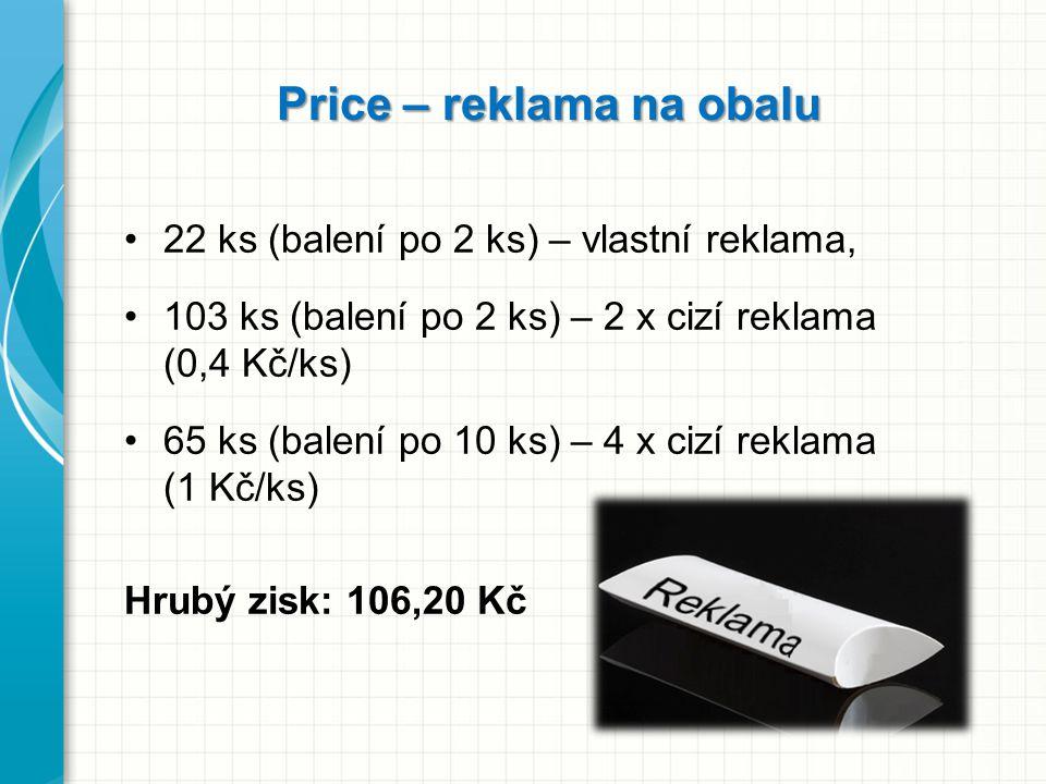 Price – reklama na obalu 22 ks (balení po 2 ks) – vlastní reklama, 103 ks (balení po 2 ks) – 2 x cizí reklama (0,4 Kč/ks) 65 ks (balení po 10 ks) – 4