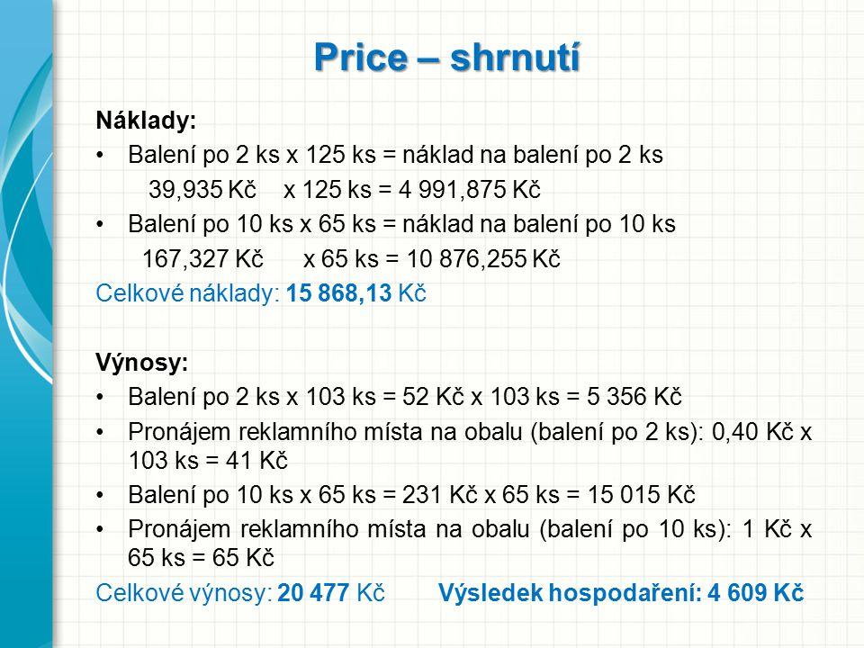 Price – shrnutí Náklady: Balení po 2 ks x 125 ks = náklad na balení po 2 ks 39,935 Kč x 125 ks = 4 991,875 Kč Balení po 10 ks x 65 ks = náklad na bale