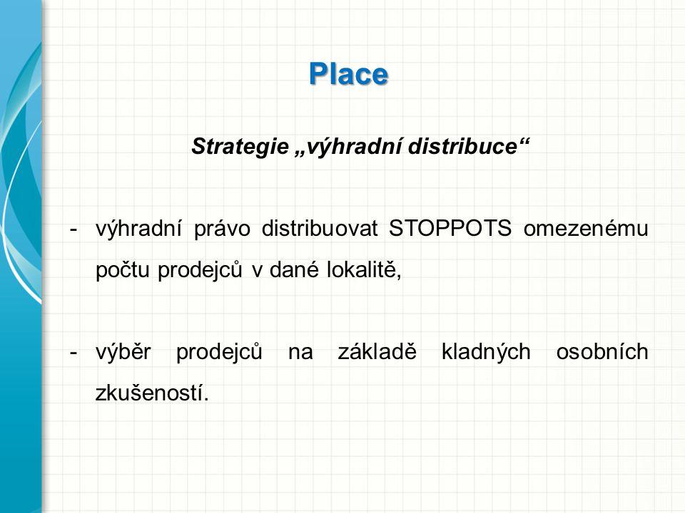 """Place Strategie """"výhradní distribuce"""" -výhradní právo distribuovat STOPPOTS omezenému počtu prodejců v dané lokalitě, -výběr prodejců na základě kladn"""