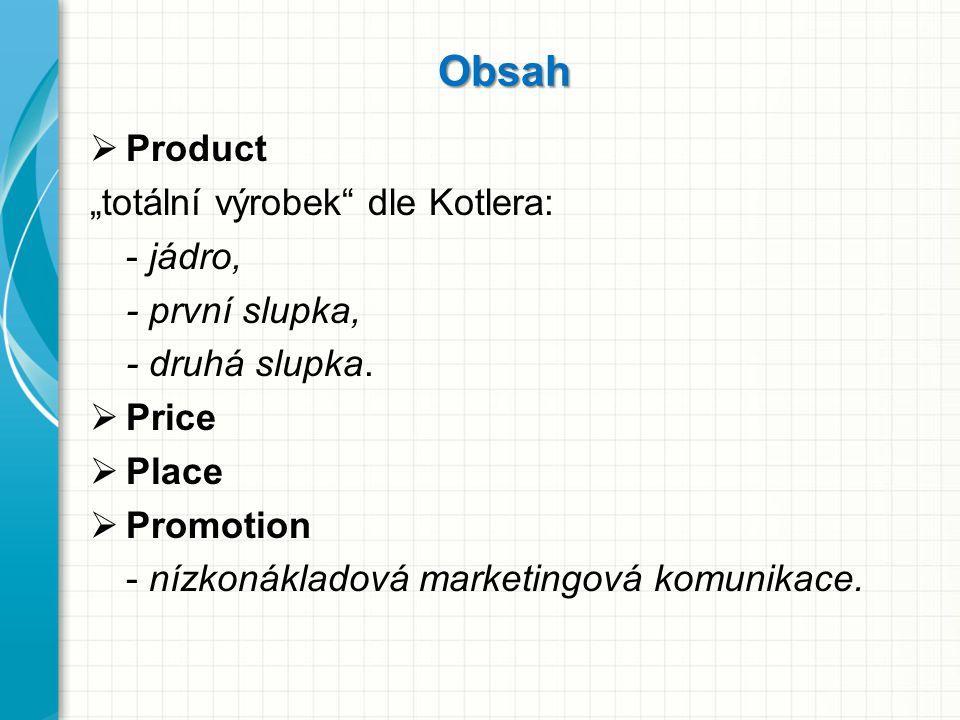 """Obsah  Product """"totální výrobek"""" dle Kotlera: - jádro, - první slupka, - druhá slupka.  Price  Place  Promotion - nízkonákladová marketingová komu"""