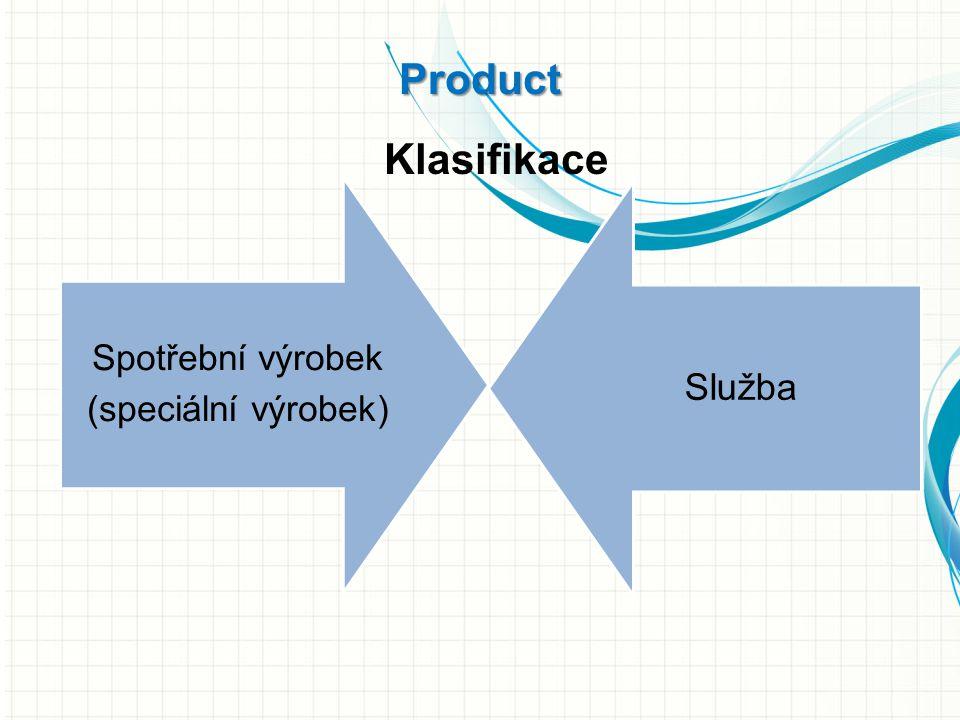 Spotřební výrobek (speciální výrobek) Služba Product Klasifikace