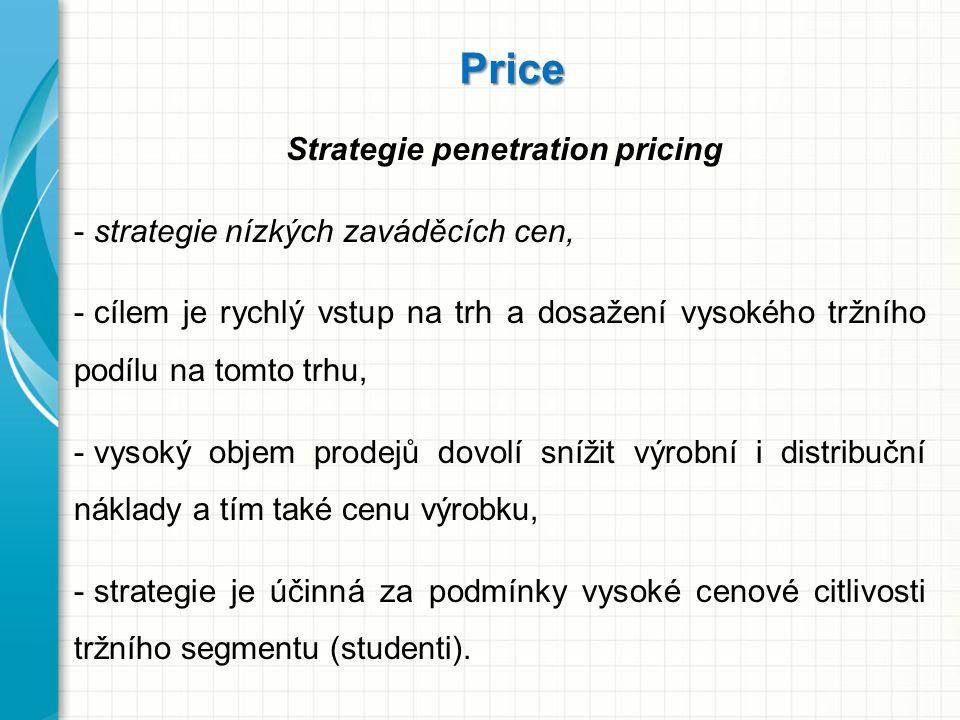 Price Strategie penetration pricing - strategie nízkých zaváděcích cen, - cílem je rychlý vstup na trh a dosažení vysokého tržního podílu na tomto trh