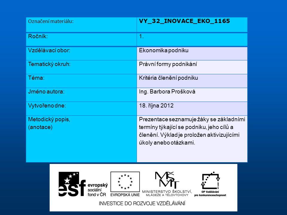 Označení materiálu: VY_32_INOVACE_EKO_1165 Ročník:1.