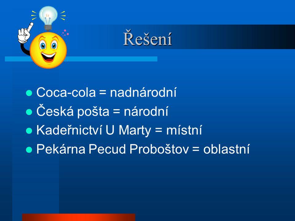 Řešení Coca-cola = nadnárodní Česká pošta = národní Kadeřnictví U Marty = místní Pekárna Pecud Proboštov = oblastní
