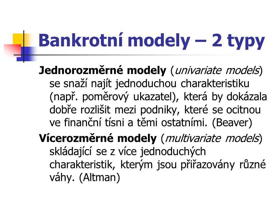 Bankrotní modely – 2 typy Jednorozměrné modely (univariate models) se snaží najít jednoduchou charakteristiku (např.