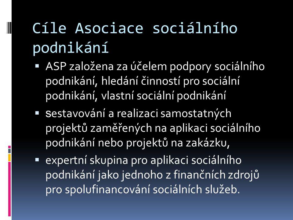 Cíle Asociace sociálního podnikání  ASP založena za účelem podpory sociálního podnikání, hledání činností pro sociální podnikání, vlastní sociální podnikání  s estavování a realizaci samostatných projektů zaměřených na aplikaci sociálního podnikání nebo projektů na zakázku,  expertní skupina pro aplikaci sociálního podnikání jako jednoho z finančních zdrojů pro spolufinancování sociálních služeb.