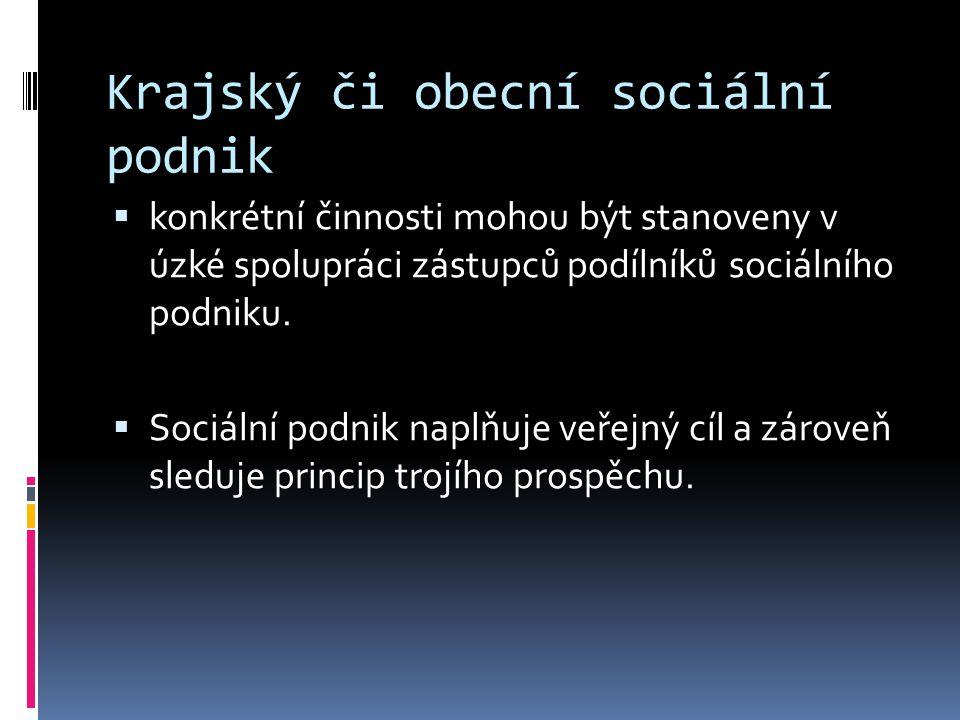 Krajský či obecní sociální podnik  konkrétní činnosti mohou být stanoveny v úzké spolupráci zástupců podílníků sociálního podniku.
