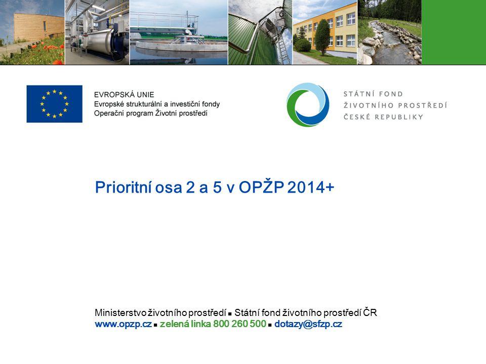 Ministerstvo životního prostředí Státní fond životního prostředí ČR www.opzp.cz zelená linka 800 260 500 dotazy@sfzp.cz Prioritní osa 2 a 5 v OPŽP 201