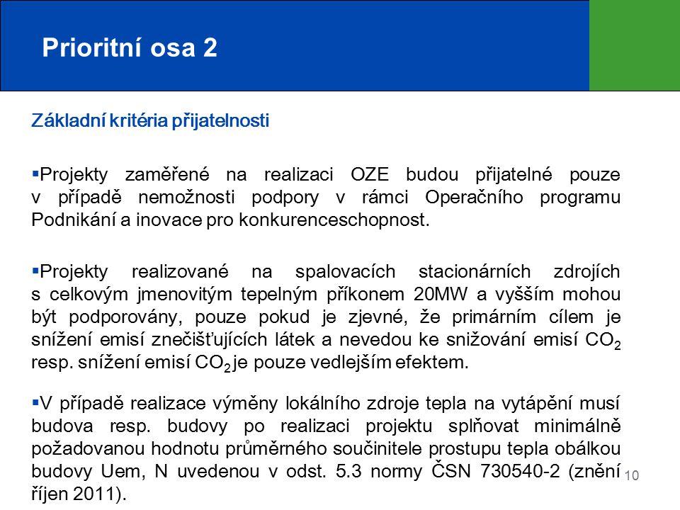 10 Prioritní osa 2 Základní kritéria přijatelnosti  Projekty zaměřené na realizaci OZE budou přijatelné pouze v případě nemožnosti podpory v rámci Op