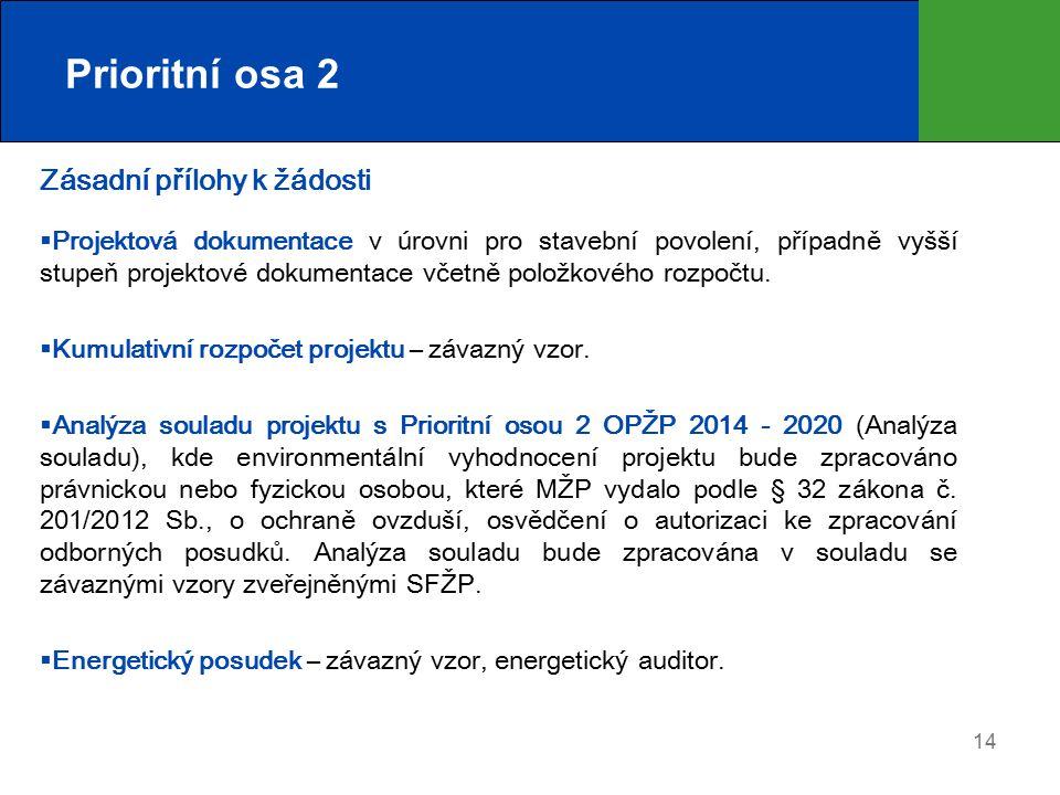 Prioritní osa 2 Zásadní přílohy k žádosti  Projektová dokumentace v úrovni pro stavební povolení, případně vyšší stupeň projektové dokumentace včetně