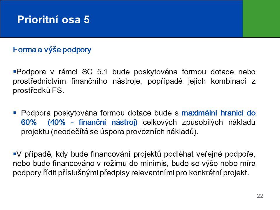 Prioritní osa 5 Forma a výše podpory  Podpora v rámci SC 5.1 bude poskytována formou dotace nebo prostřednictvím finančního nástroje, popřípadě jejic