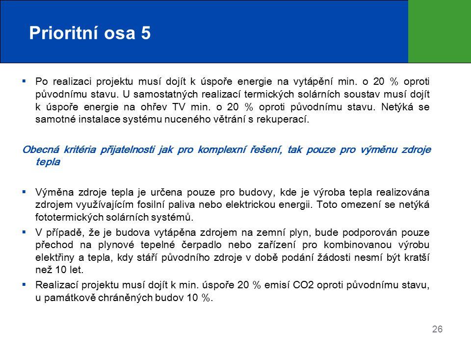 Prioritní osa 5  Po realizaci projektu musí dojít k úspoře energie na vytápění min. o 20 % oproti původnímu stavu. U samostatných realizací termickýc