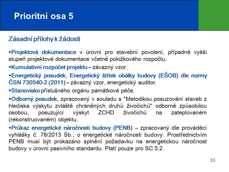 Prioritní osa 5 Zásadní přílohy k žádosti  Projektová dokumentace v úrovni pro stavební povolení, případně vyšší stupeň projektové dokumentace včetně