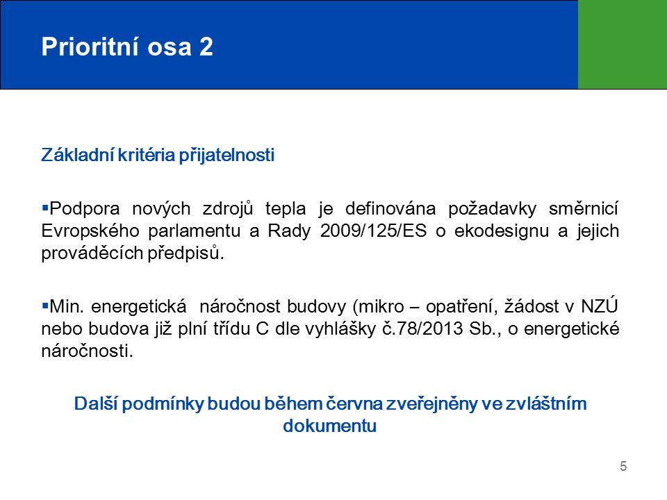 5 Prioritní osa 2 Základní kritéria přijatelnosti  Podpora nových zdrojů tepla je definována požadavky směrnicí Evropského parlamentu a Rady 2009/125