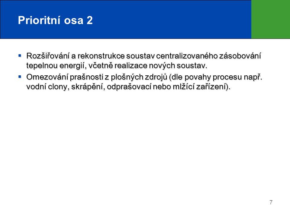 8 Prioritní osa 2 Forma a výše podpory  Podpora v rámci SC 2.2 bude poskytována formou dotace z prostředků Fondu soudržnosti.