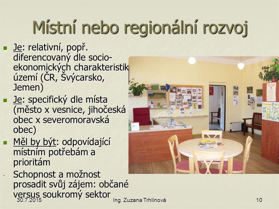 30.7.2015Ing. Zuzana Trhlínová10 Místní nebo regionální rozvoj Je: relativní, popř.