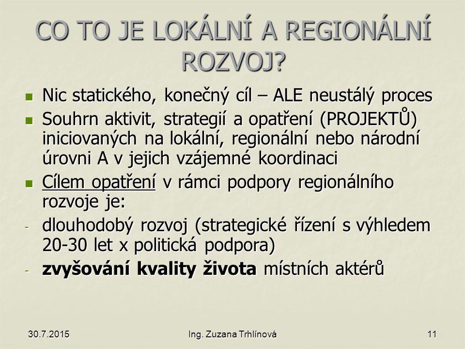 30.7.2015Ing. Zuzana Trhlínová11 CO TO JE LOKÁLNÍ A REGIONÁLNÍ ROZVOJ.