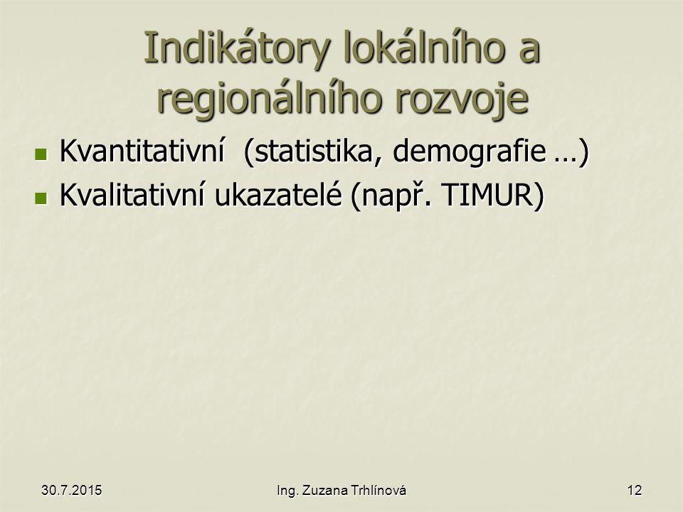 Indikátory lokálního a regionálního rozvoje Kvantitativní (statistika, demografie …) Kvantitativní (statistika, demografie …) Kvalitativní ukazatelé (např.