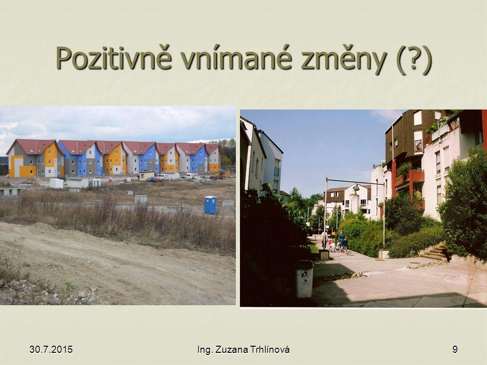 30.7.2015Ing. Zuzana Trhlínová9 Pozitivně vnímané změny ( )