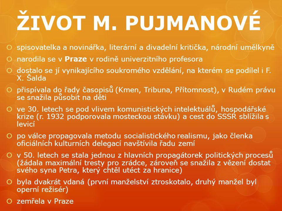 ŽIVOT M. PUJMANOVÉ  spisovatelka a novinářka, literární a divadelní kritička, národní umělkyně  narodila se v Praze v rodině univerzitního profesora