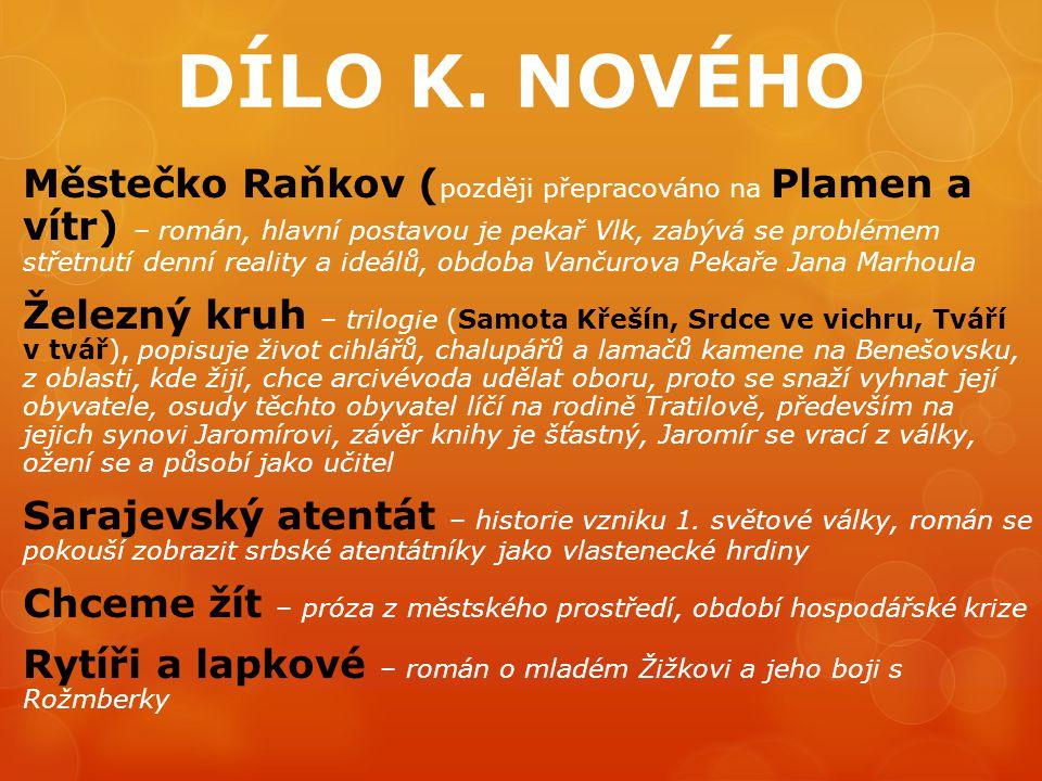 DÍLO K. NOVÉHO Městečko Raňkov ( později přepracováno na Plamen a vítr) – román, hlavní postavou je pekař Vlk, zabývá se problémem střetnutí denní rea