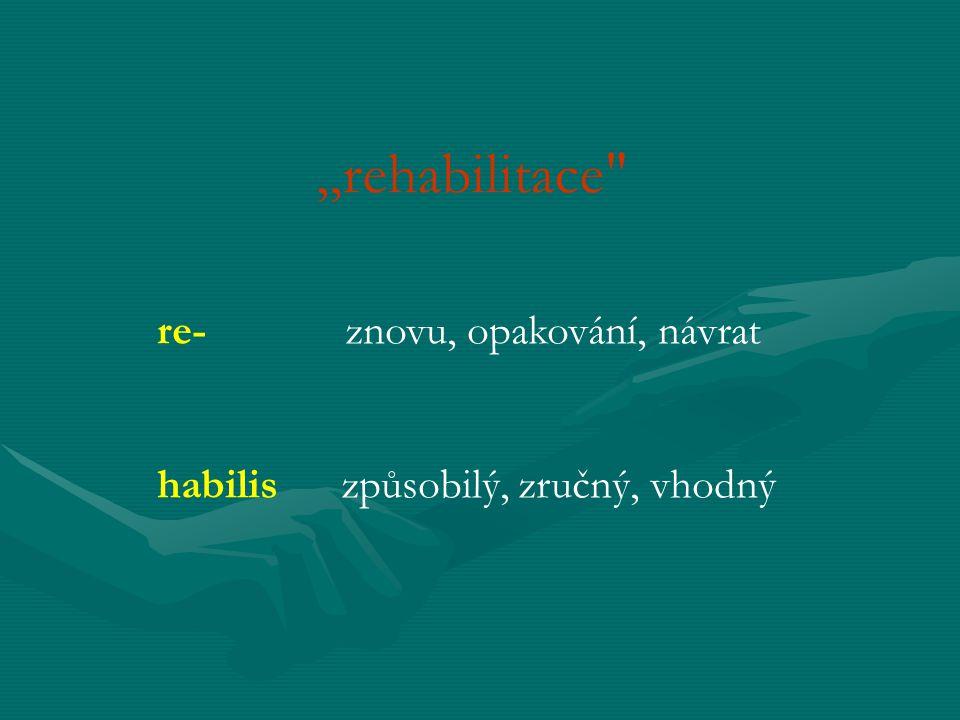 DEFINICE POJMU REHABILITACE koncepce oboru rehabilitační a fyzikální lékařství :... u osob s těžkým zdravotním postižením je cílem zachování soběstačnosti postiženého jedince a tím vytvoření předpokladu pro maximální možnou úroveň kvality života .