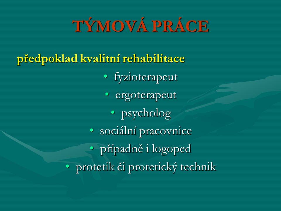 PROSTŘEDKY UCELENÉ REHABILITACE Metody léčebné rehabilitace: kinezioterapiekinezioterapie fyzikální terapiefyzikální terapie ergoterapieergoterapie funkční diagnostikafunkční diagnostika doplňkové metody: pedagogickémetody, edukace, psychoterapie, socioterapiedoplňkové metody: pedagogickémetody, edukace, psychoterapie, socioterapie