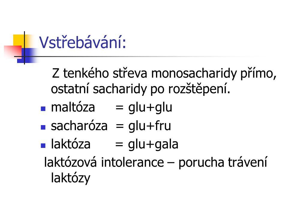 Vstřebávání: Z tenkého střeva monosacharidy přímo, ostatní sacharidy po rozštěpení. maltóza = glu+glu sacharóza = glu+fru laktóza = glu+gala laktózová