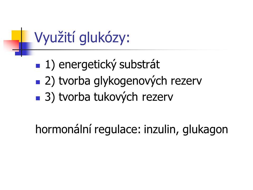 Využití glukózy: 1) energetický substrát 2) tvorba glykogenových rezerv 3) tvorba tukových rezerv hormonální regulace: inzulin, glukagon