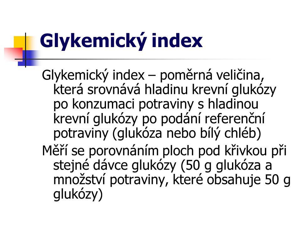 Glykemický index Glykemický index – poměrná veličina, která srovnává hladinu krevní glukózy po konzumaci potraviny s hladinou krevní glukózy po podání