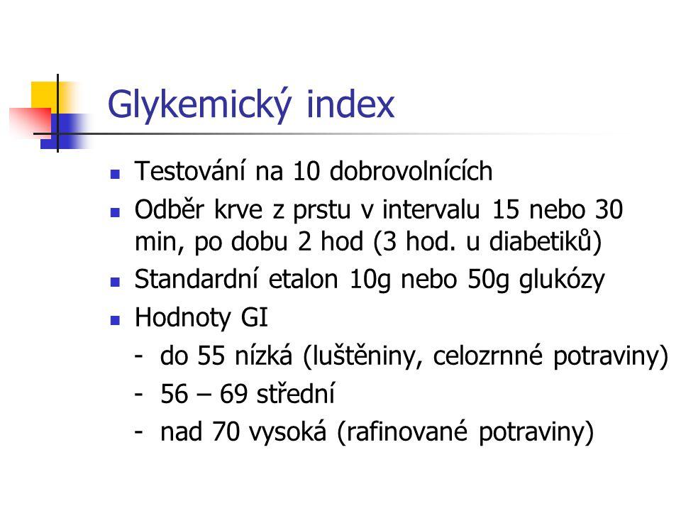 Glykemický index Testování na 10 dobrovolnících Odběr krve z prstu v intervalu 15 nebo 30 min, po dobu 2 hod (3 hod. u diabetiků) Standardní etalon 10