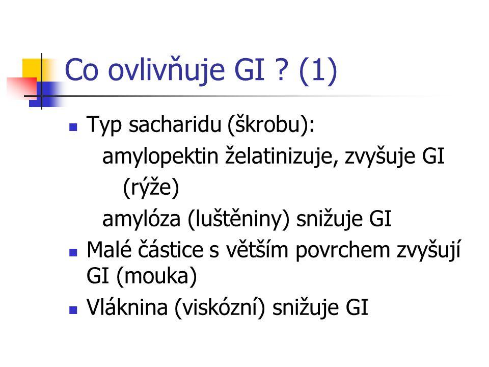 Co ovlivňuje GI ? (1) Typ sacharidu (škrobu): amylopektin želatinizuje, zvyšuje GI (rýže) amylóza (luštěniny) snižuje GI Malé částice s větším povrche