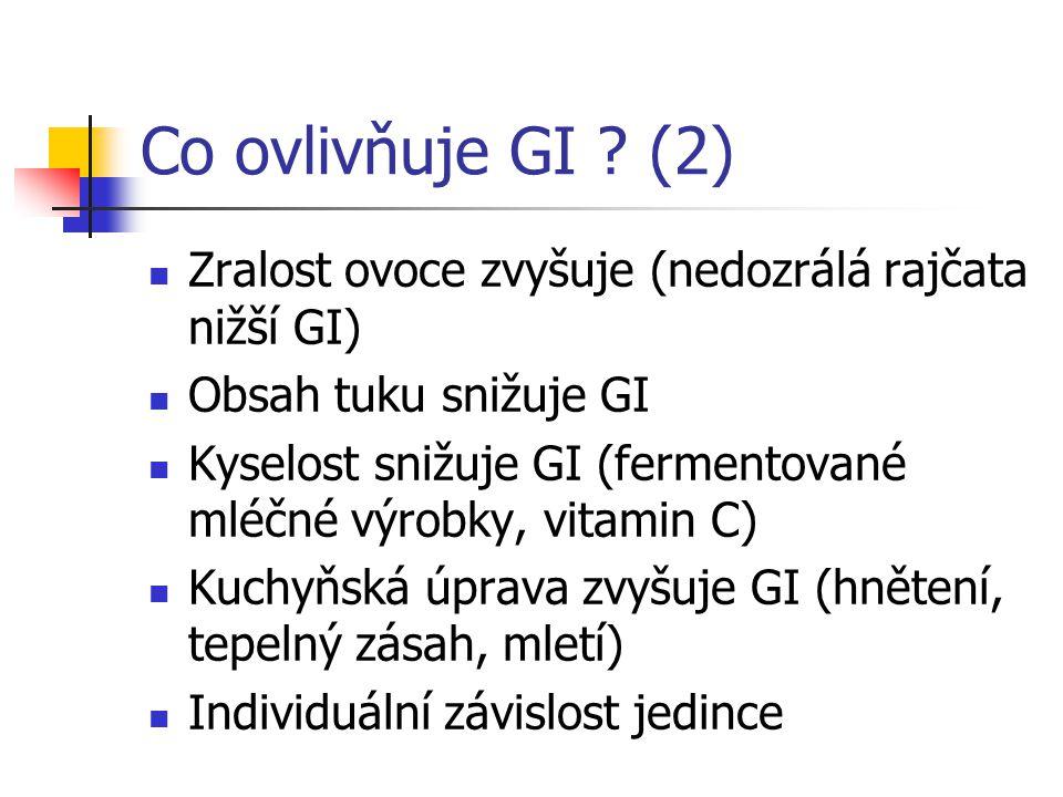 Co ovlivňuje GI ? (2) Zralost ovoce zvyšuje (nedozrálá rajčata nižší GI) Obsah tuku snižuje GI Kyselost snižuje GI (fermentované mléčné výrobky, vitam