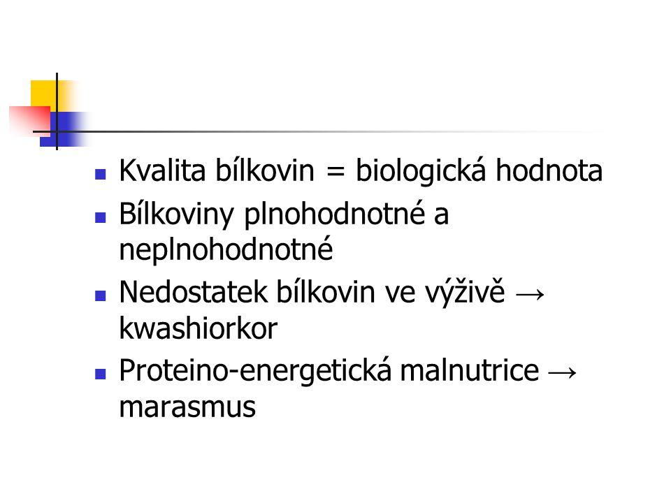 Kvalita bílkovin = biologická hodnota Bílkoviny plnohodnotné a neplnohodnotné Nedostatek bílkovin ve výživě → kwashiorkor Proteino-energetická malnutr