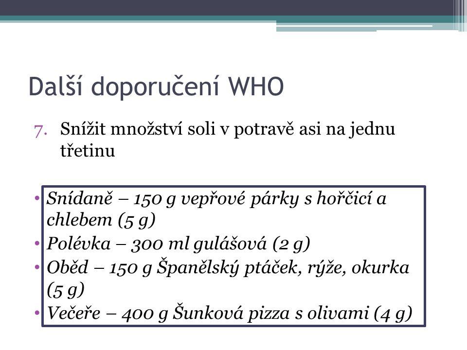 Další doporučení WHO 7.Snížit množství soli v potravě asi na jednu třetinu Snídaně – 150 g vepřové párky s hořčicí a chlebem (5 g) Polévka – 300 ml gulášová (2 g) Oběd – 150 g Španělský ptáček, rýže, okurka (5 g) Večeře – 400 g Šunková pizza s olivami (4 g)