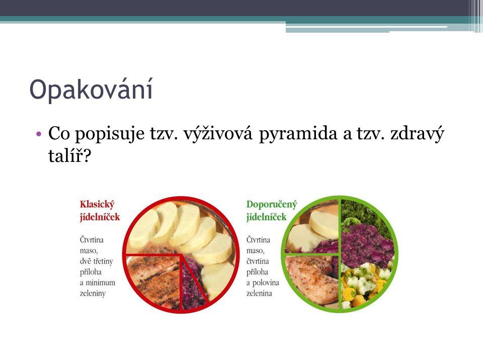 Opakování Co popisuje tzv. výživová pyramida a tzv. zdravý talíř?