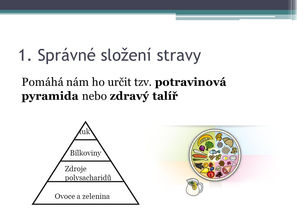 1.Správné složení stravy Pomáhá nám ho určit tzv.