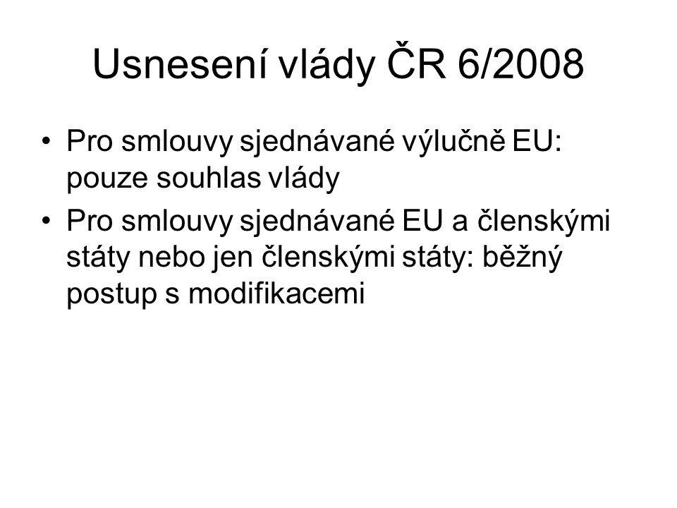 Usnesení vlády ČR 6/2008 Pro smlouvy sjednávané výlučně EU: pouze souhlas vlády Pro smlouvy sjednávané EU a členskými státy nebo jen členskými státy: běžný postup s modifikacemi