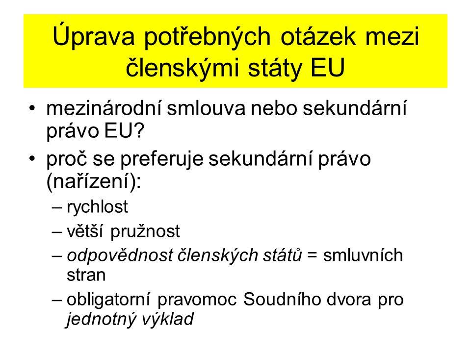 Úprava potřebných otázek mezi členskými státy EU mezinárodní smlouva nebo sekundární právo EU.